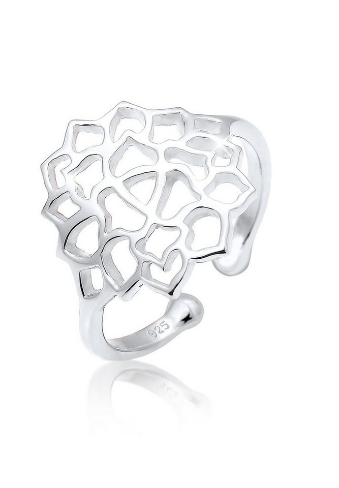 Elli Ring »Lotusblume Ornament 925 Sterling Silber« in Silber