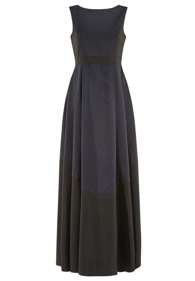 Apart Abendkleid aus Taft Rundhals, V-Ausschnitt in nachtblau-schwarz