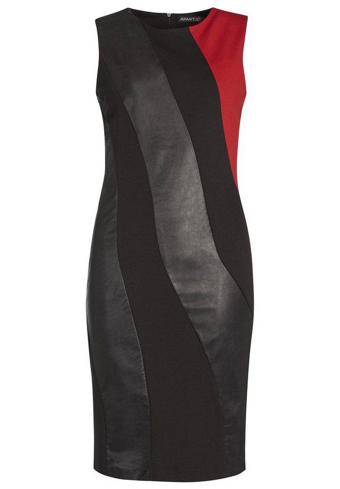 Apart Jerseykleid Rundhals in schwarz-rot