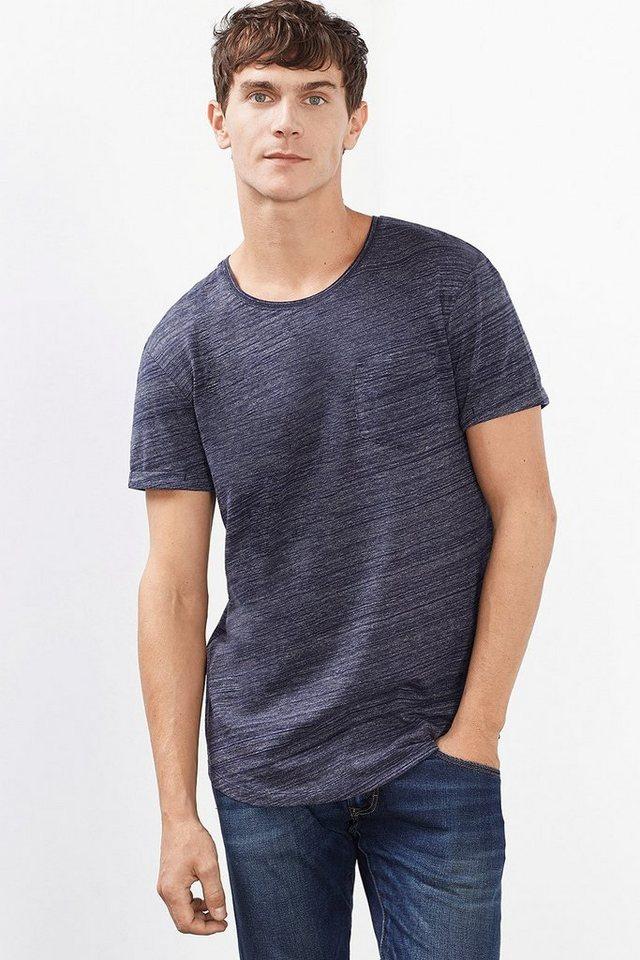 EDC Langes T-Shirt aus Melange-Jersey in NAVY