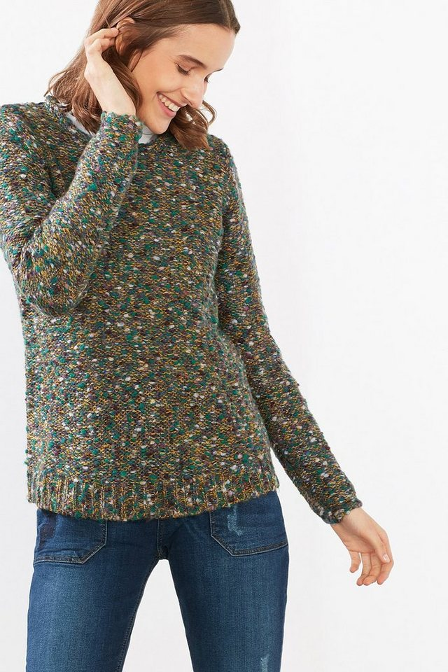 ESPRIT CASUAL Pulli in buntem Tweed-Look aus Woll-Mix in KHAKI GREEN