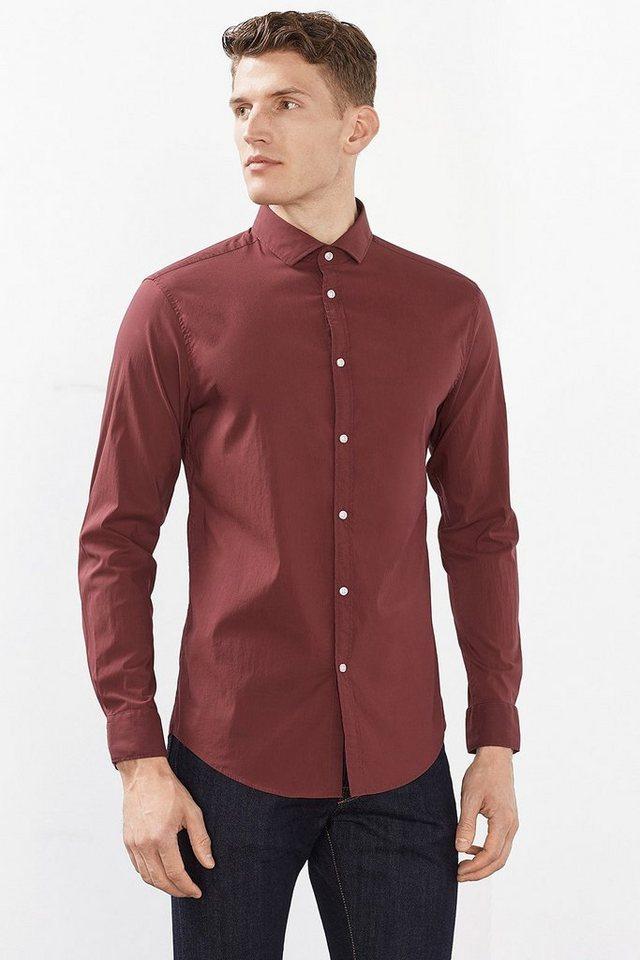 ESPRIT COLLECTION Basic Stretch-Hemd aus Baumwoll-Mix in GARNET RED