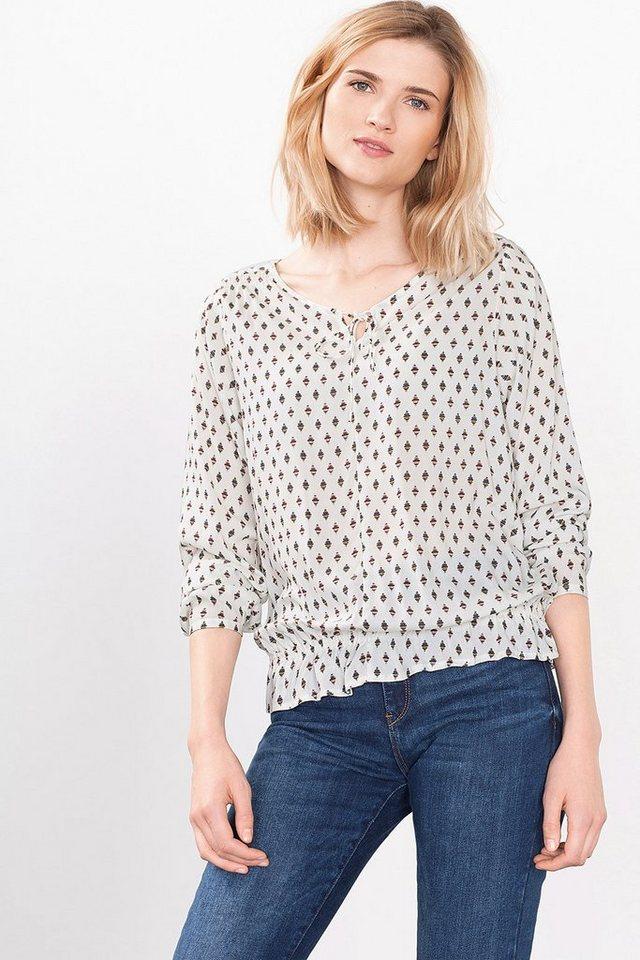 ESPRIT CASUAL Fließende Print-Bluse mit Smok-Details in OFF WHITE