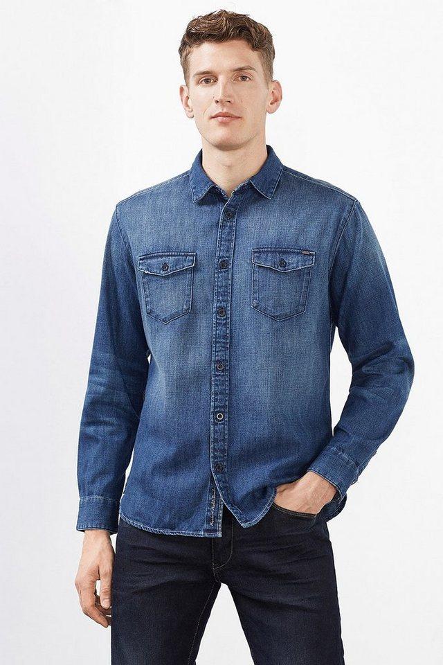ESPRIT CASUAL Denim Hemd, 100% Baumwolle in BLUE