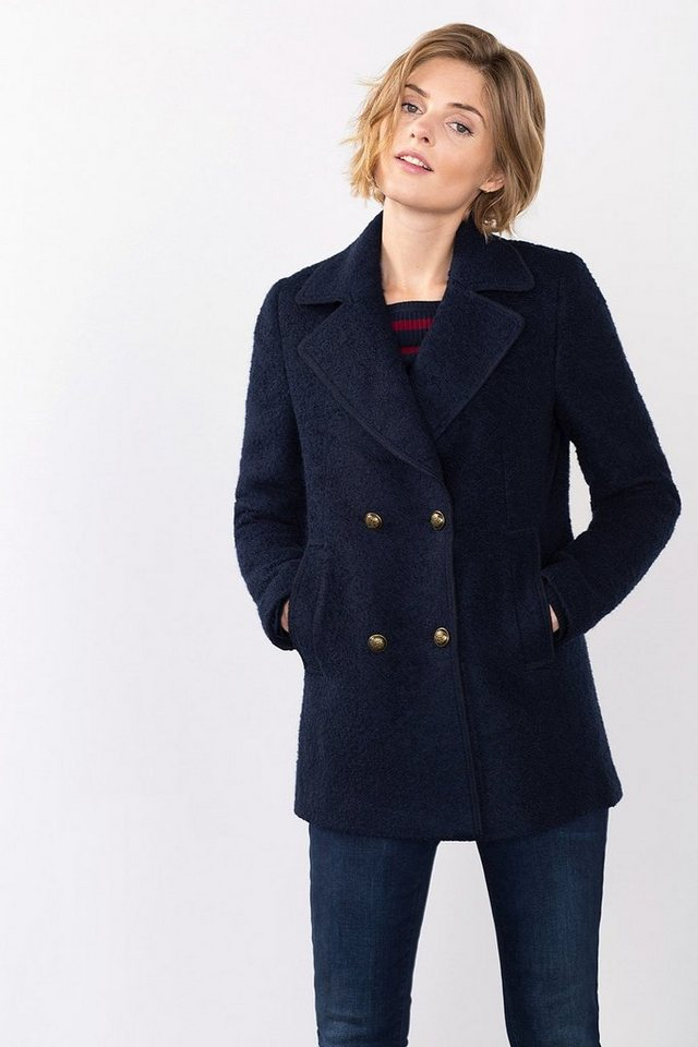 ESPRIT CASUAL Caban-Jacke in Bouclé-Qualität, Woll-Mix in NAVY