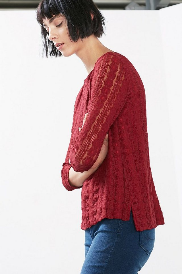 EDC Elastische Spitzen-Bluse in DARK RED