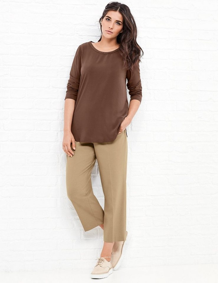 Samoon Longbluse Langarm »Puristische Longbluse« in Brown Copper