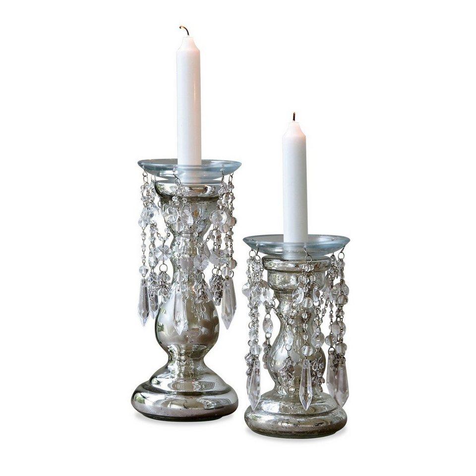 Loberon Kerzenständer 2er Set »Cera« in antiksilber