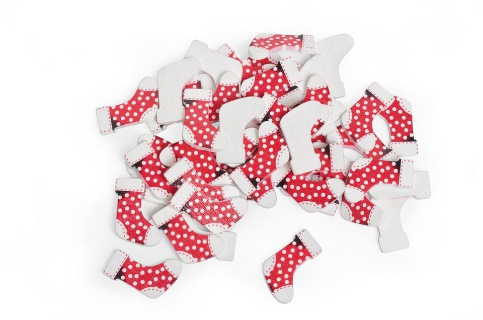 VBS Großhandelspackung 50 Deko-Socken, rot/weiß
