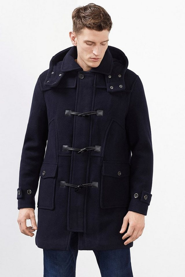 ESPRIT CASUAL Wattierter Duffle Coat aus Woll-Mix in NAVY