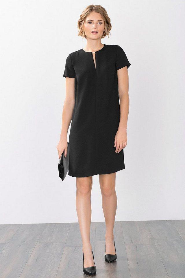 ESPRIT COLLECTION Fließendes Crepe-Kleid mit Zierteil in BLACK