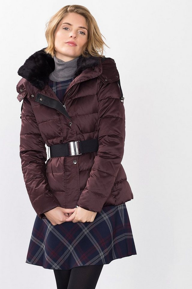 ESPRIT COLLECTION Shiny Daunenjacke mit Webpelz in BORDEAUX RED