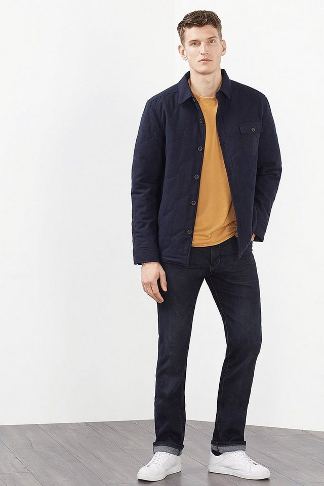 ESPRIT CASUAL Wattierte Hemdjacke aus Woll-Mix in NAVY