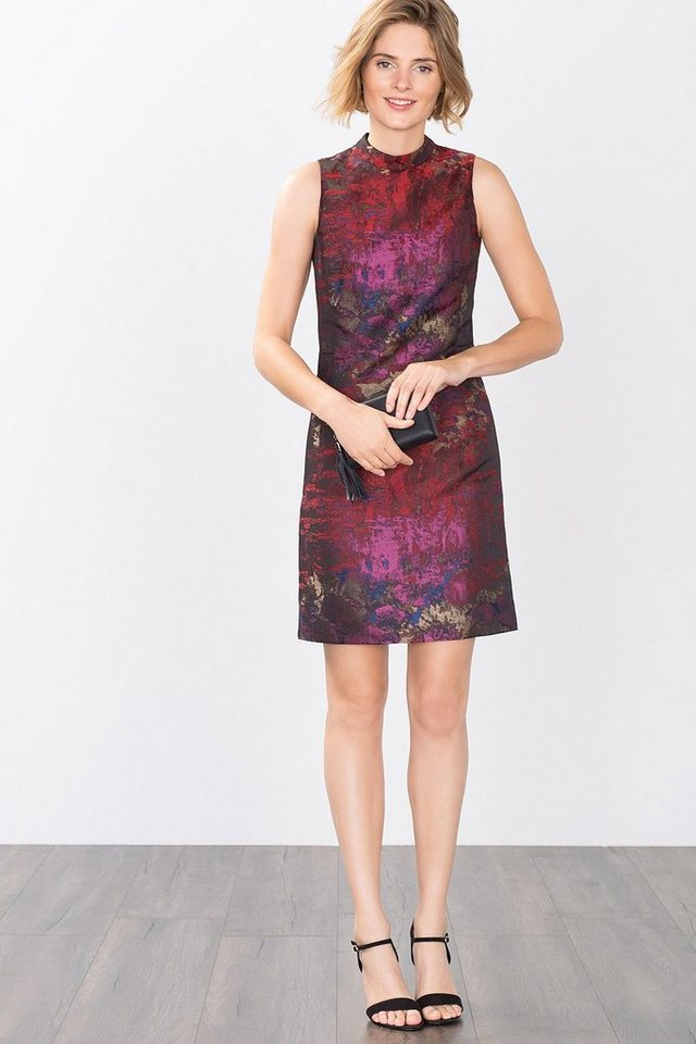 ESPRIT COLLECTION Shiny Multicolor Jacquard-Etuikleid in DARK RED
