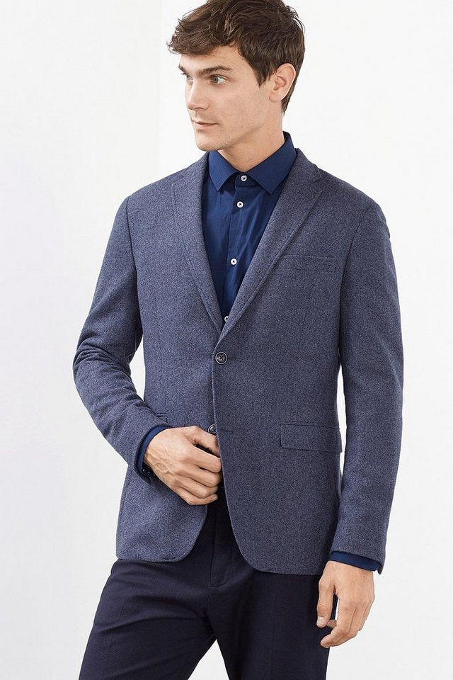 ESPRIT COLLECTION Premium Blazer aus weichem Woll-Mix in NAVY