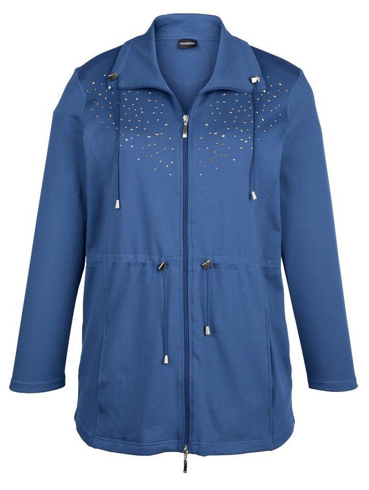 MIAMODA Sweatjacke mit Nieten besetzt in jeansblau