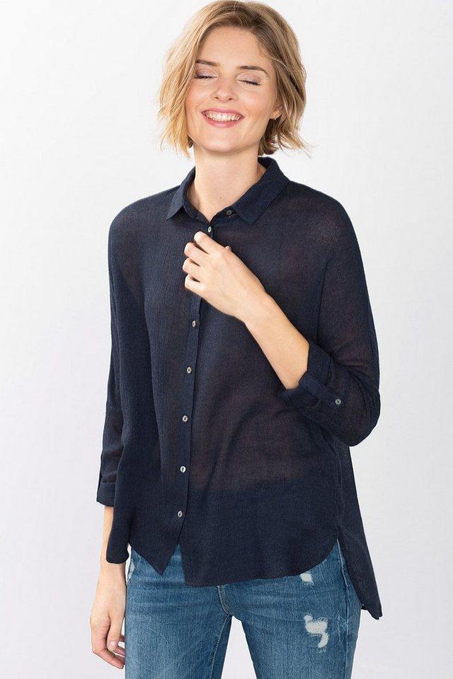 ESPRIT CASUAL Zarte Hemdbluse aus Woll-Mix in NAVY