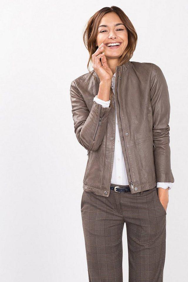 ESPRIT CASUAL Feminine Biker-Jacke aus softem Leder in TAUPE