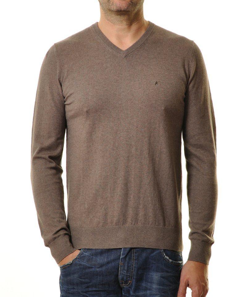 Ragman V-Ausschnitt-Pullover in mokka