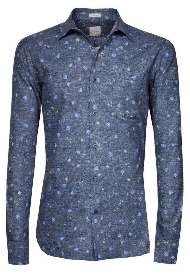 Signum Langarmhemd aus leichtem Flanell in peacoat blue