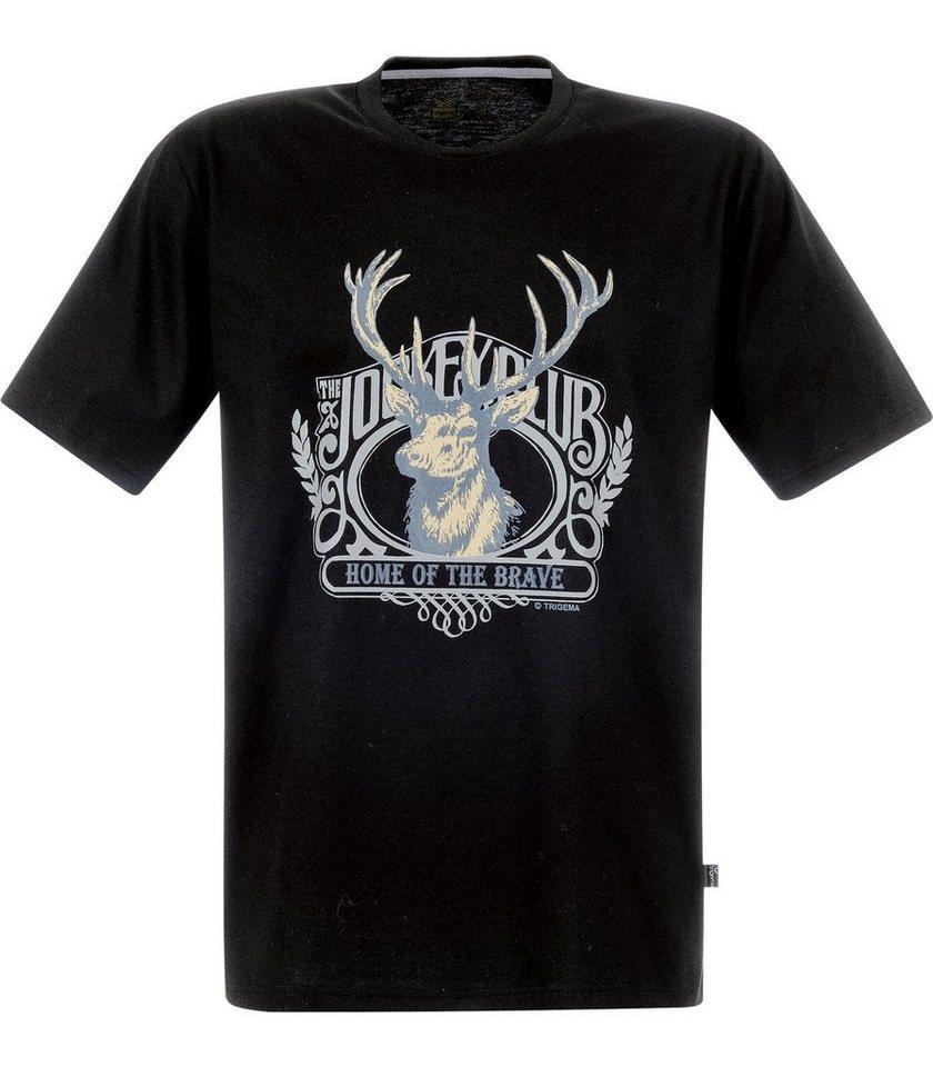 TRIGEMA T-Shirt Hirsch in schwarz