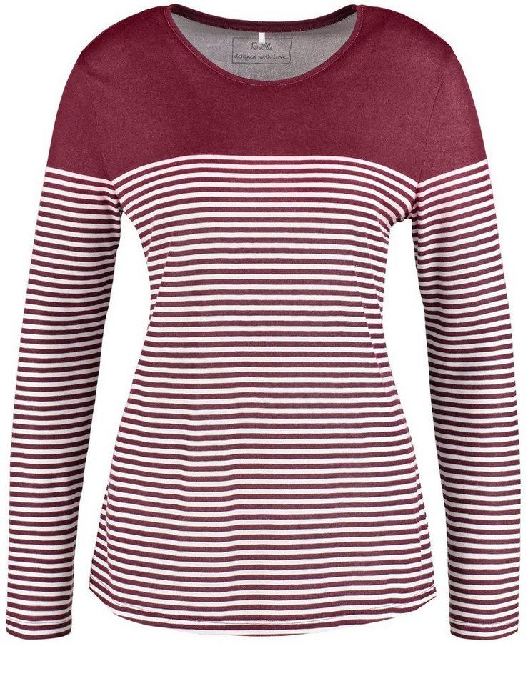 Gerry Weber T-Shirt Langarm Rundhals »Langarmshirt mit Ringeldessin« in Barolo-Wolle-Weiß-St