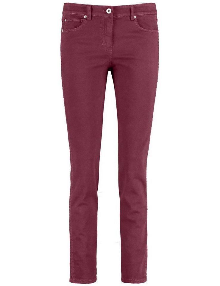 Gerry Weber Hose Jeans lang »5-Pocket Hose mit Faltendetail« in Barolo