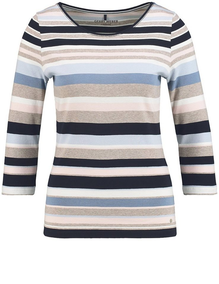 Gerry Weber T-Shirt 3/4 Arm »3/4 Arm Shirt mit Multicolorringel« in Blau-Lila-Pink Ringe