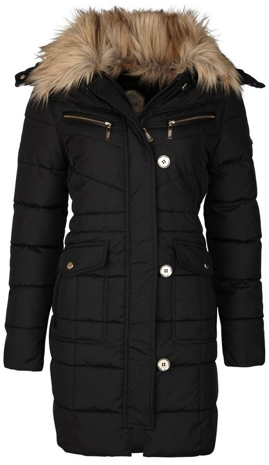 Usha Mantel mit abnehmbarer Kapuze + Webpelzkragen in schwarz