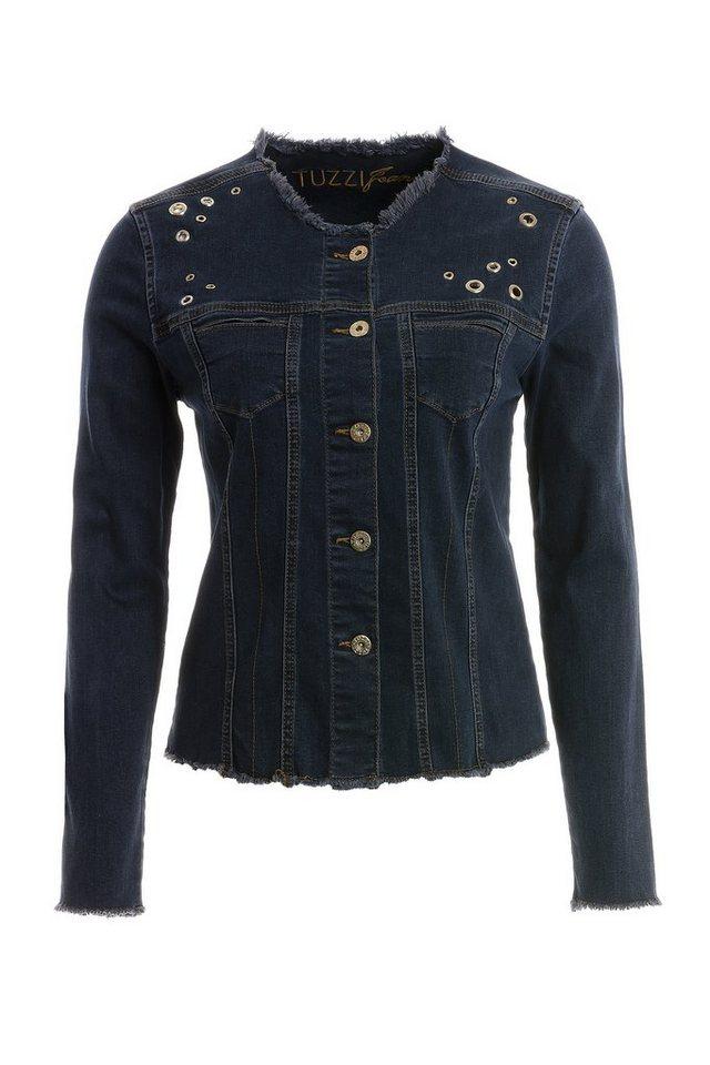 TUZZI Jeans Jacke mit Ösen Schmückung in dark denim