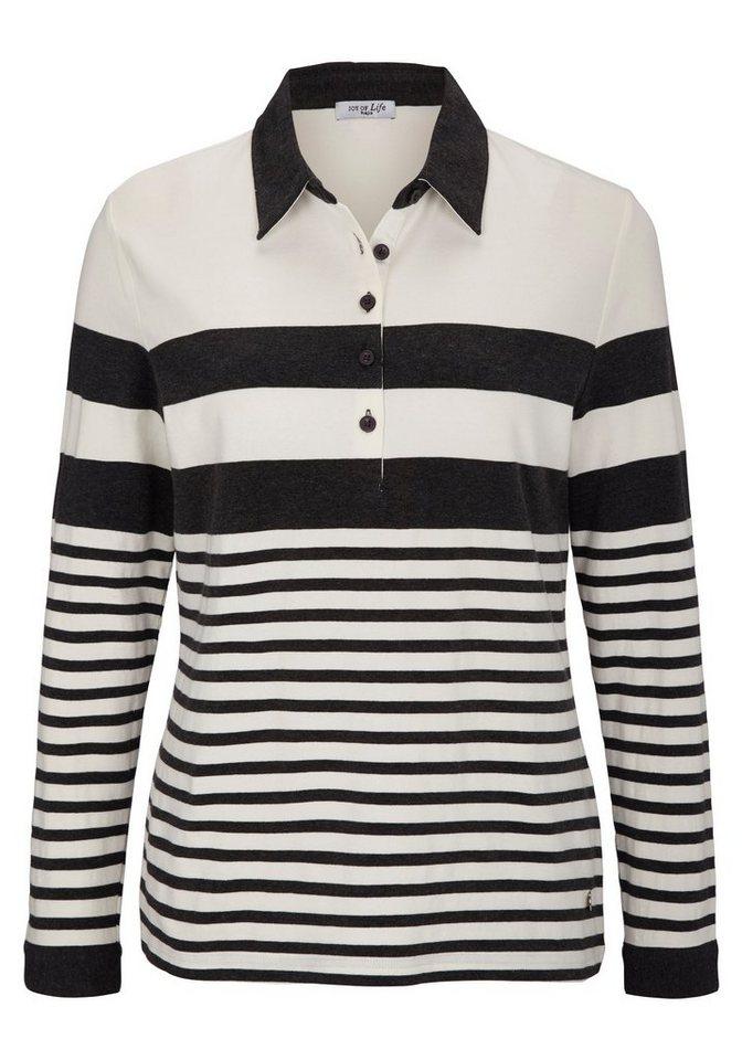 Hajo Shirt Polokragen in anthrazitmelange