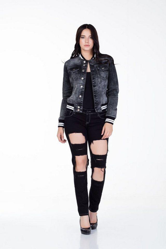Cipo & Baxx Damen Jeans Hose in schwarz