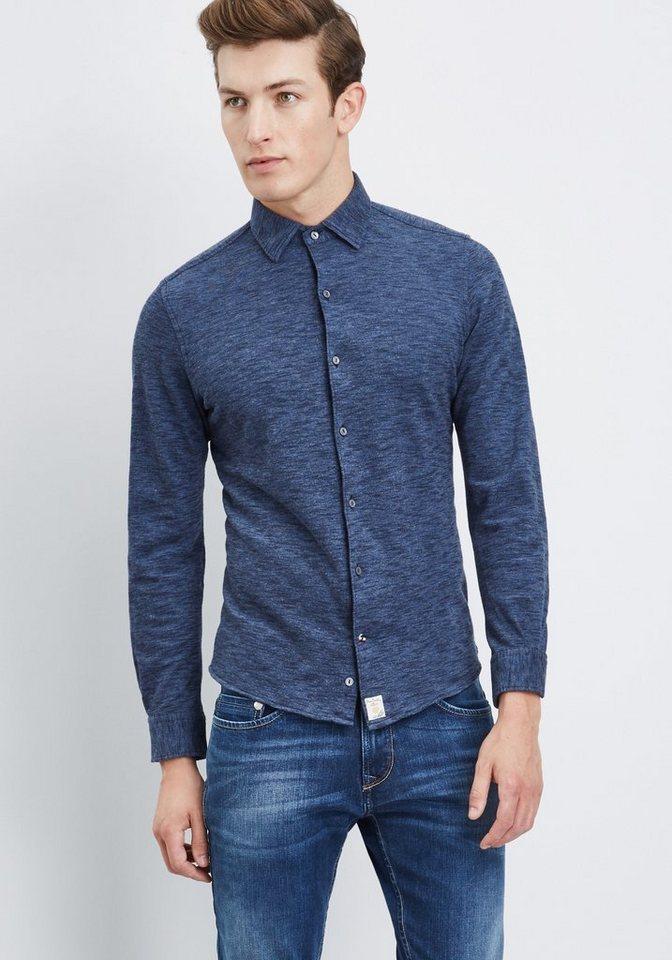 PIERRE CARDIN Piqué-Hemd Melange-Optik in blau
