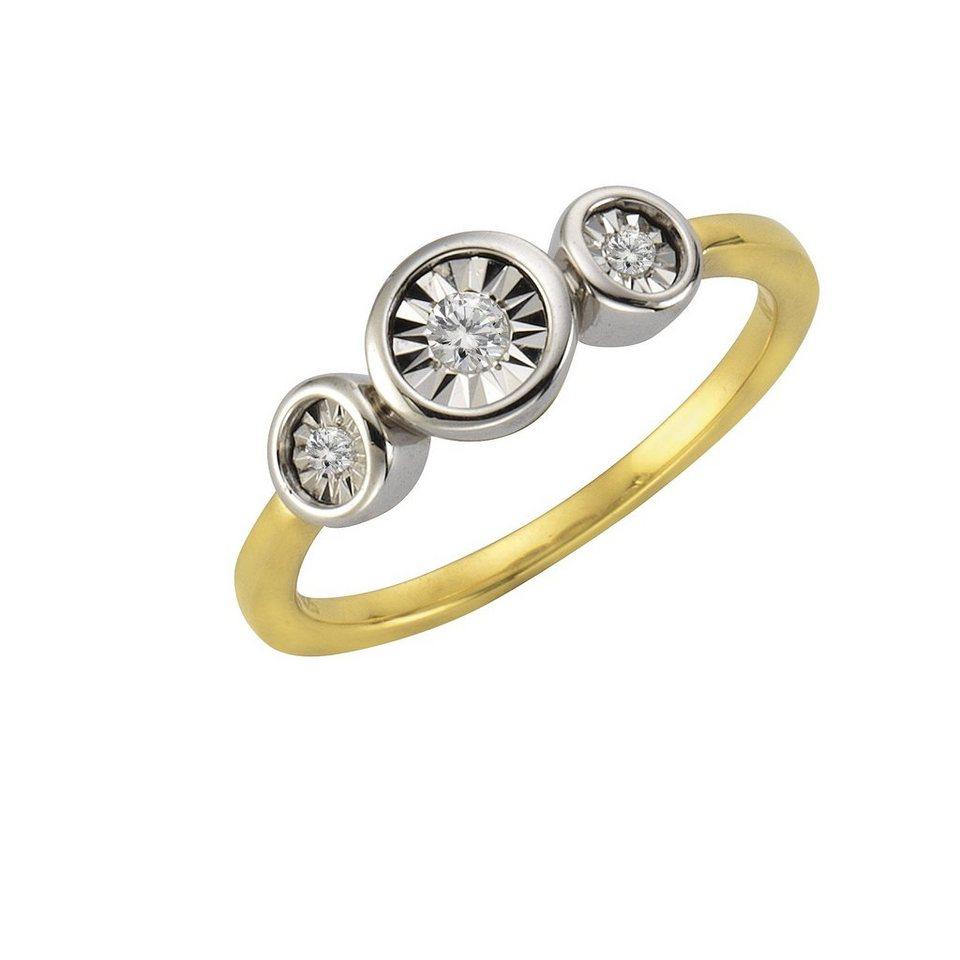 CELESTA Ring »925/- Silber 3xDiamant« in gelb