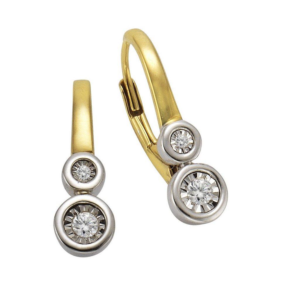 CELESTA Ohrhänger »925/- Silber 4x Diamant« in gelb