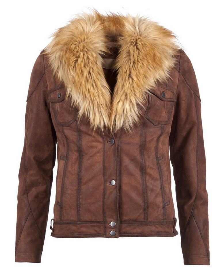 TOM TAILOR Lederjacke, Damen 16-22 in cognac