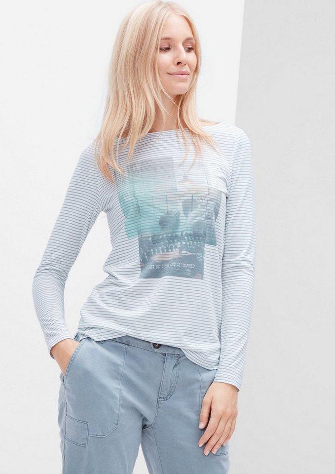 s.Oliver RED LABEL Ringelshirt mit Print in creme/light blue pla