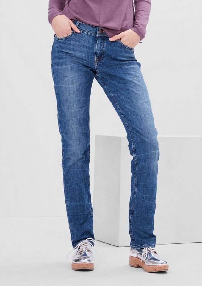 s.Oliver RED LABEL Smart Straight: Jeans mit Waschung in navy denim stretch