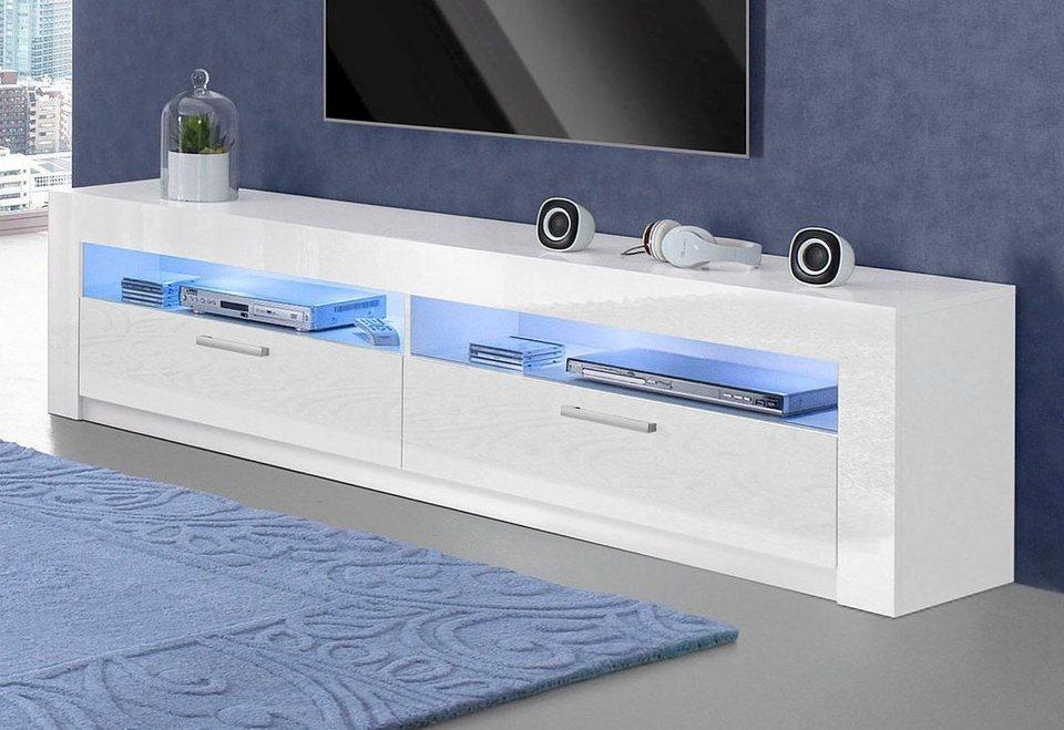 Lowboard, Breite 199 cm in weiß/weiß Hochglanz