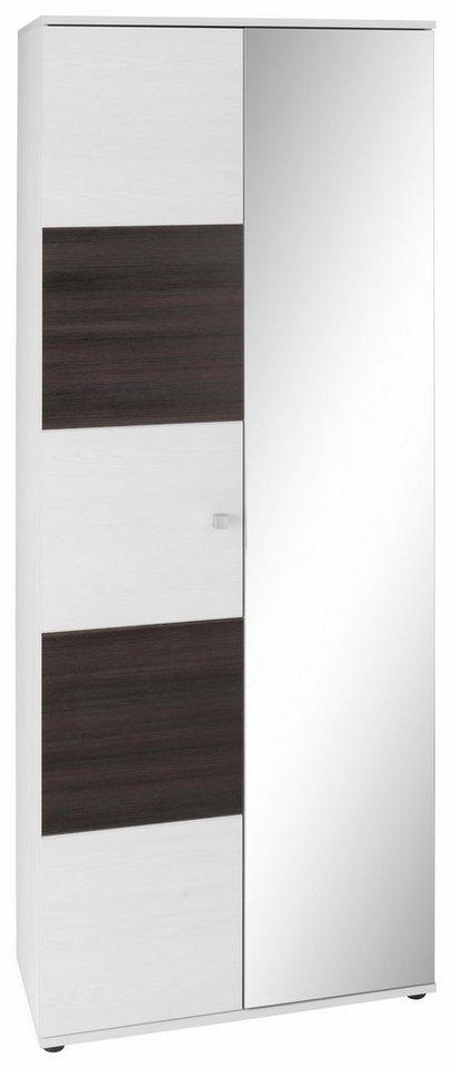 Garderobenschrank »Wings« mit Spiegel in lärchefb. weiß/dunkelgrau
