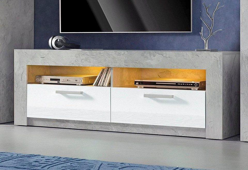 Lowboard, Breite 144 cm in Beton-Optik/weiß Hochglanz