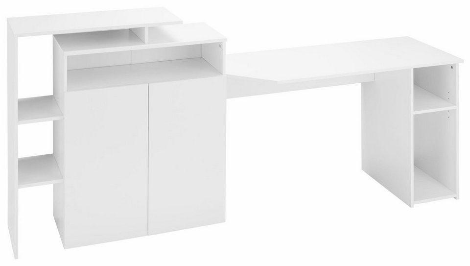 Schreibtischkombination »Wales« in weiß matt