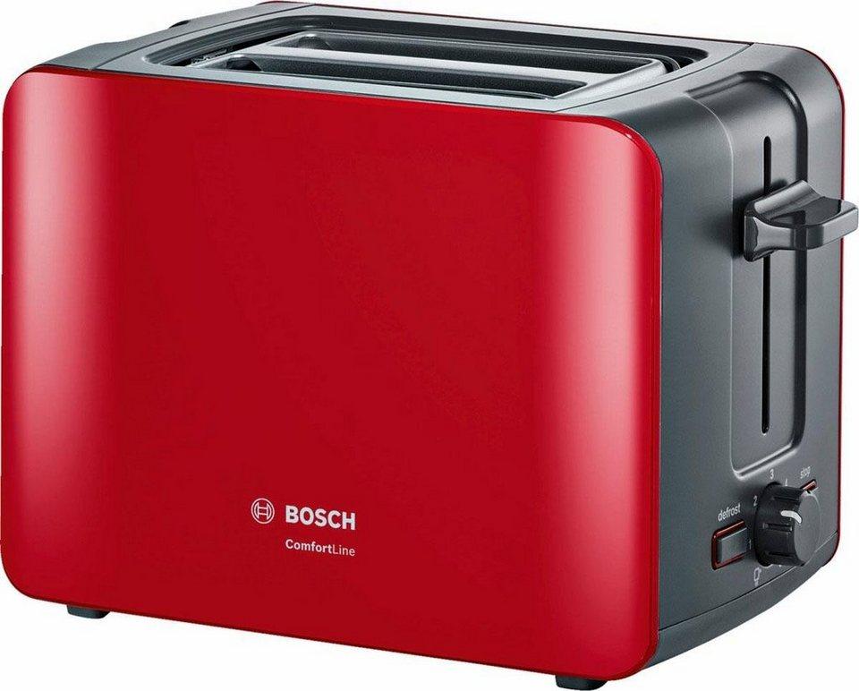 Bosch Kompakt-Toaster ComfortLine, rot/anthrazit TAT6A114 in rot/anthrazit