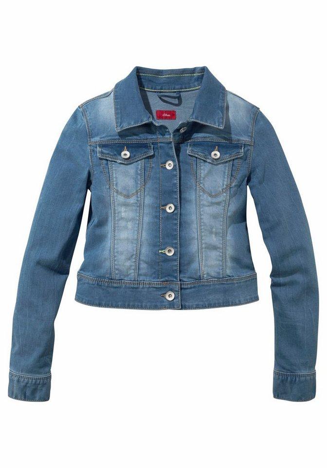 s.Oliver RED LABEL Junior Jeansjacke mit authentischer Waschung in blue-denim