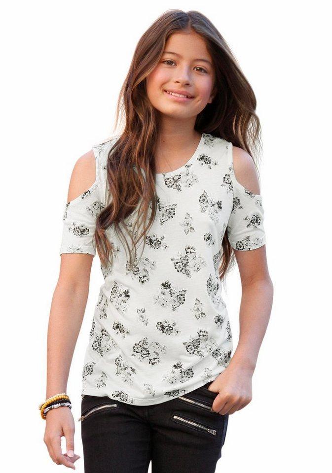 Buffalo T-Shirt mit modischen Cut-Outs in natur-bedruckt