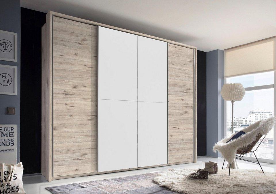 Schwebetürenschrank mit Spiegel in Sandeichefarben/Weiß