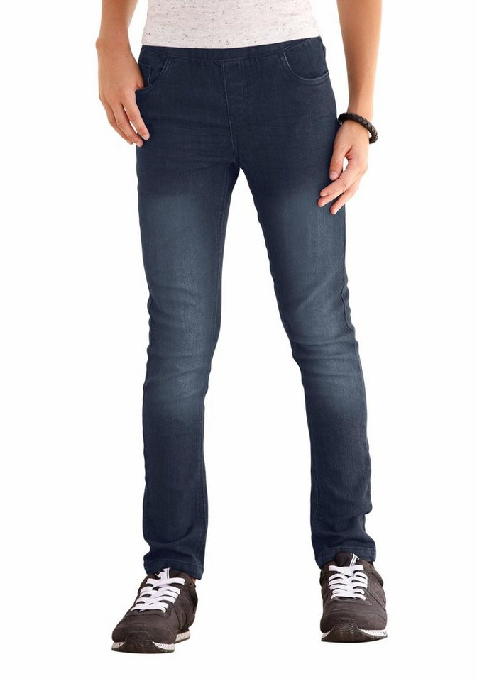 Arizona Skinny-fit-Jeans In Schlupfform in blue-black