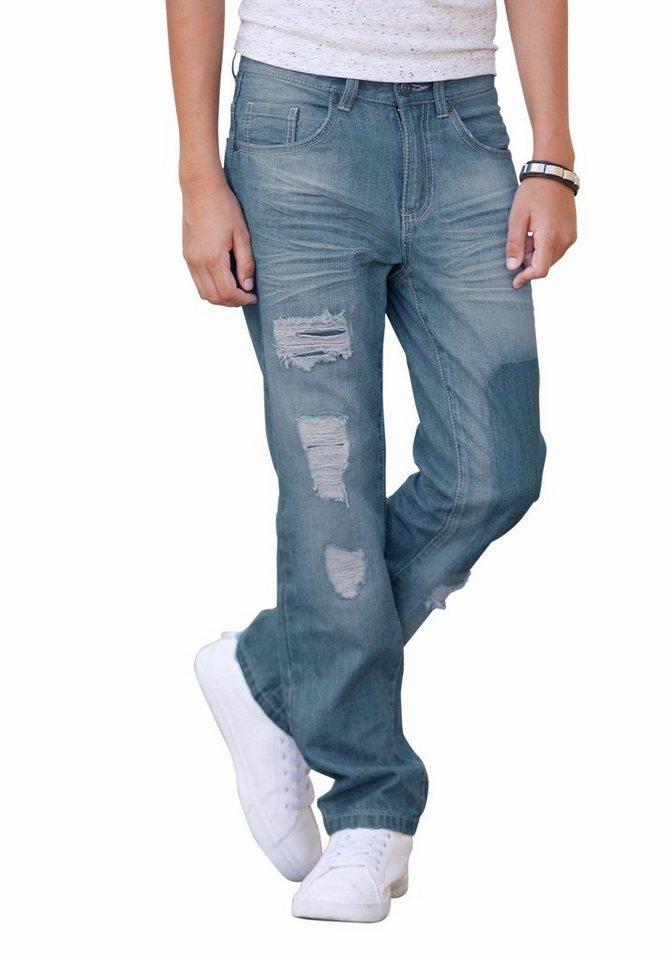 Arizona Regular-fit-Jeans Mit unterlegten Destroyed-Effekten in light-blue-denim