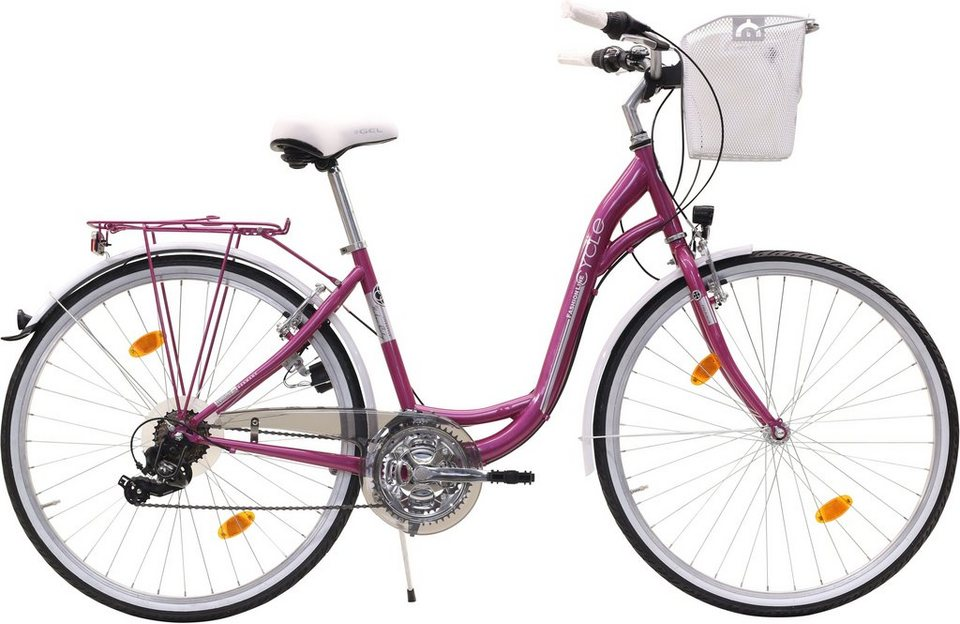 Fashion Line Damen Cityrad, 21 Gang Shimano Kettenschaltung in pink