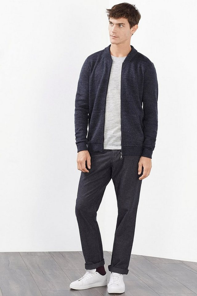 ESPRIT COLLECTION Feinstrick Zip Cardigan aus Woll-Mix in NAVY